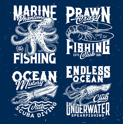 Marine prawn fishing, scuba diving club print