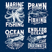 Marine prawn fishing, ocean scuba diving club t-shirt print. Octopus and prawn or shrimp, squid or cuttlefish engraved vector. Underwater spearfishing, diver apparel print template with sea animal