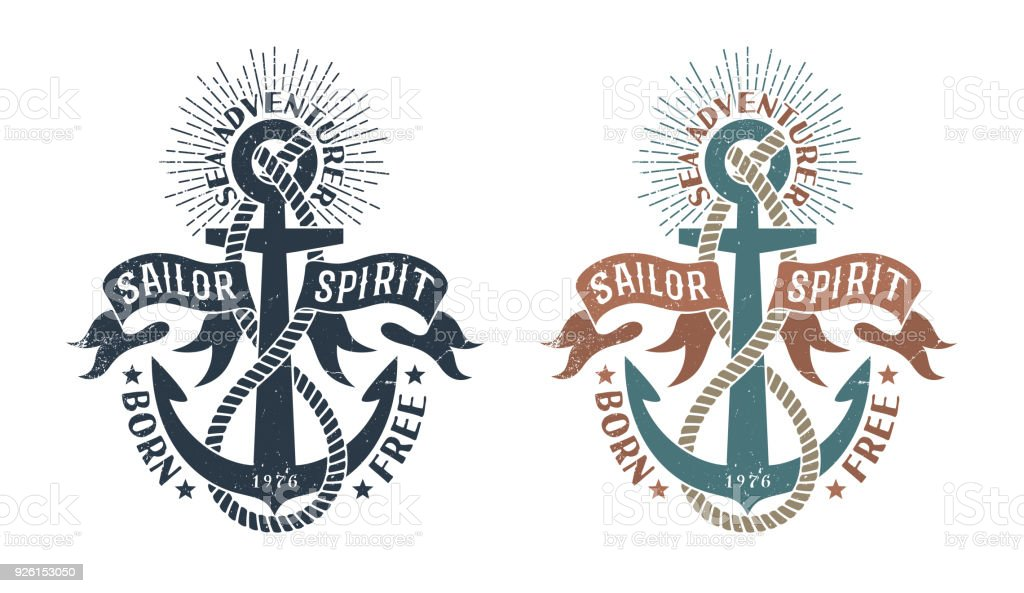 Marine retro emblem in the stamp style vector art illustration