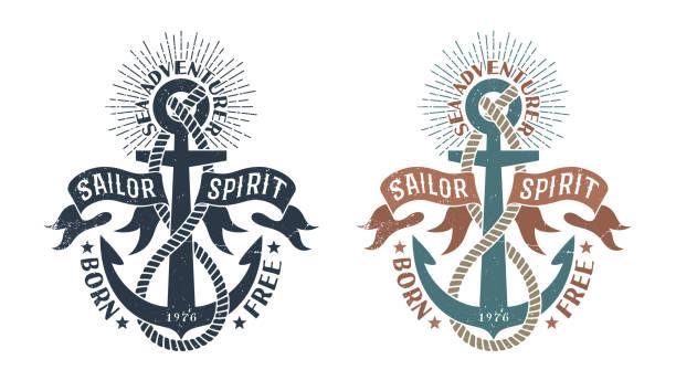 ilustraciones, imágenes clip art, dibujos animados e iconos de stock de marine emblema retro al estilo del sello - tatuajes náuticos