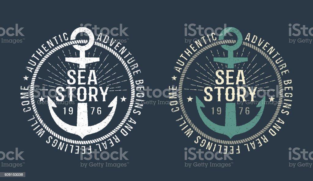 Marina redondo emblema retro - ilustración de arte vectorial