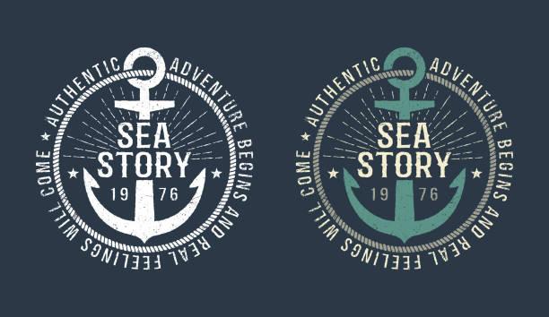 marine-runde retro-emblem - segeln stock-grafiken, -clipart, -cartoons und -symbole