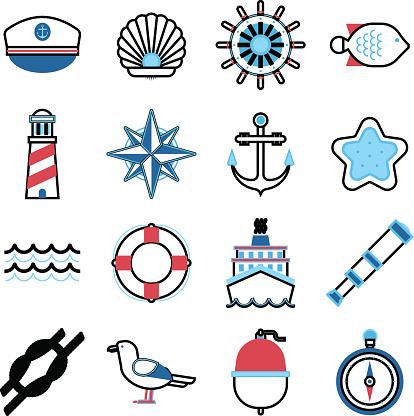 Marine sea icons vector set.