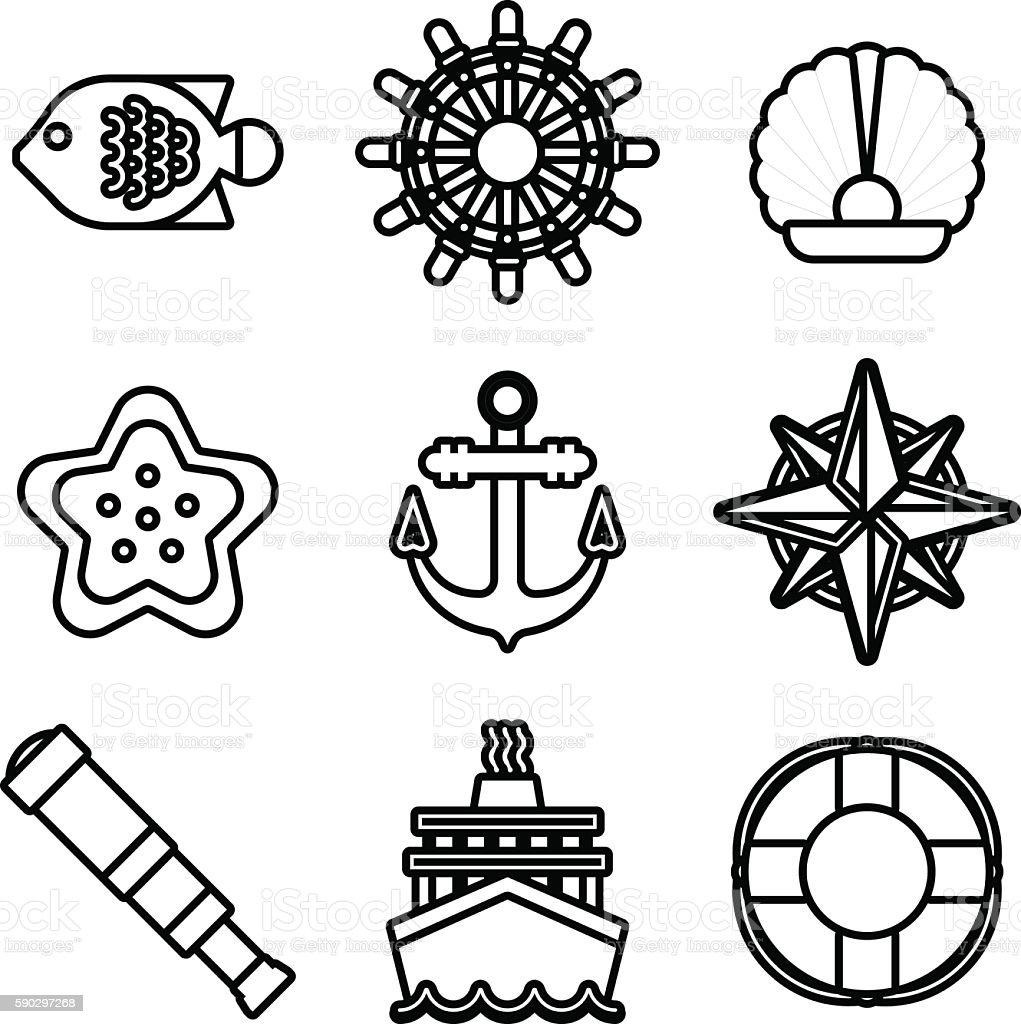 Marine sea icons vector set. marine sea icons vector set — стоковая векторная графика и другие изображения на тему Бинокль Стоковая фотография