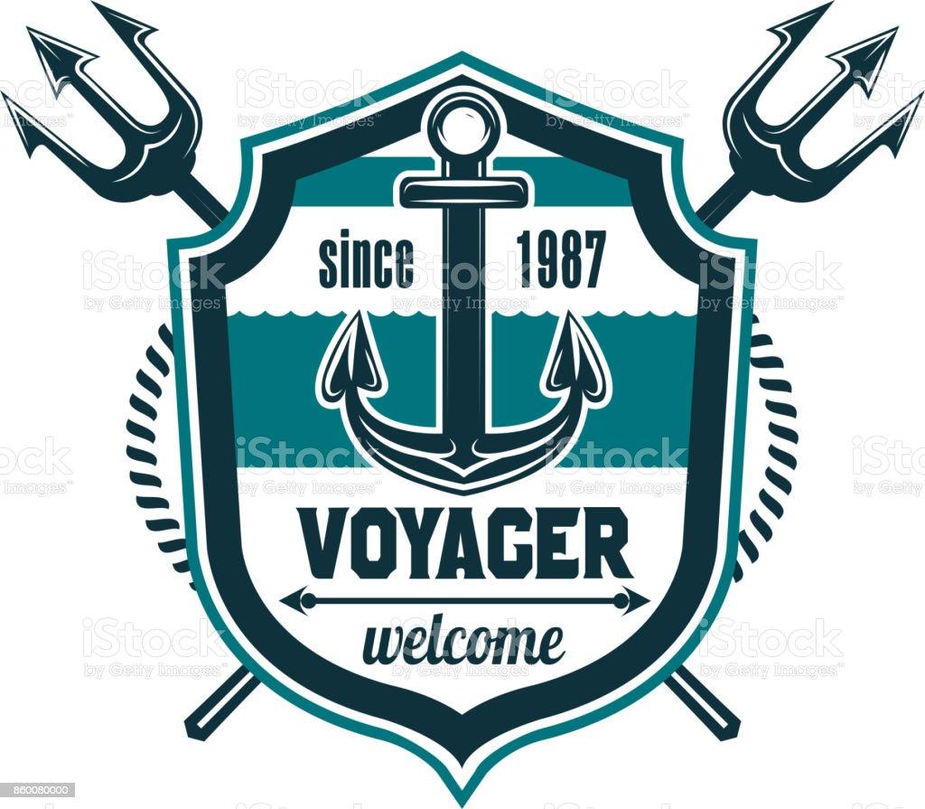 Marine seafarer anchor trident vector icon vector art illustration