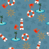 Marine seamless pattern for wallpaper, scrapbook and other design. Vector illustration.