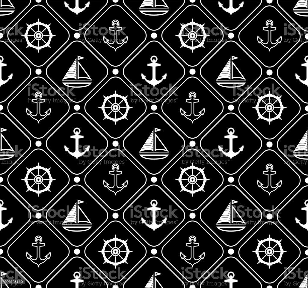 Papier Peint Deco Marine marine modèle sans couture adapté pour le papier peint