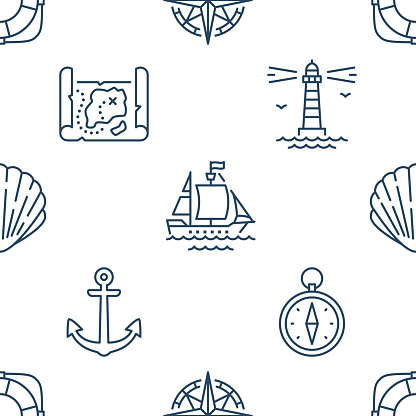 Marine seamless pattern with line icons. Vector background illustration included icon as anchor, compass, shell, lighthouse, ship, wind rose outline navy wallpaper. White, blue color