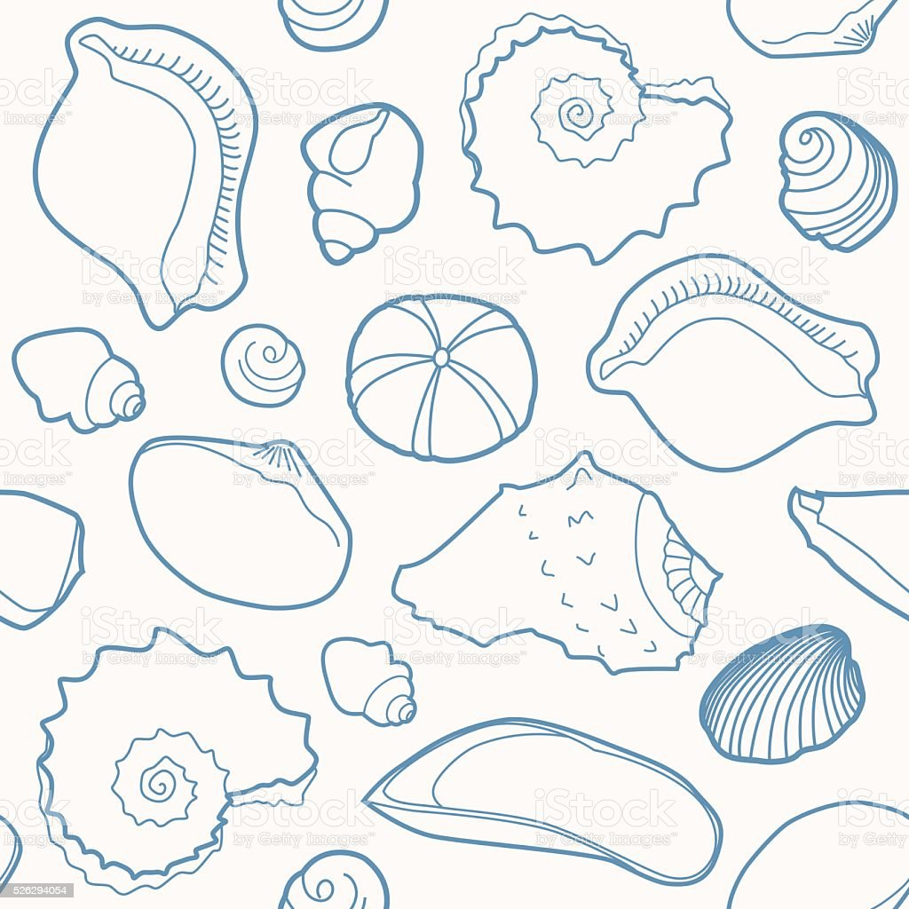 Marine seamless pattern with shells vector art illustration