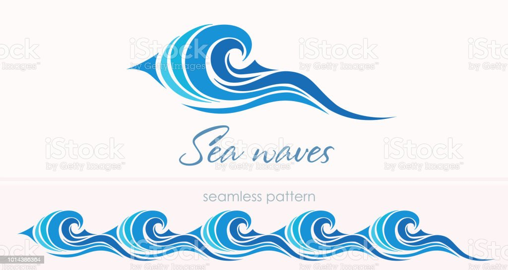 Marine Modele Sans Couture Avec Vagues Stylisees Sur Un Motif Clair