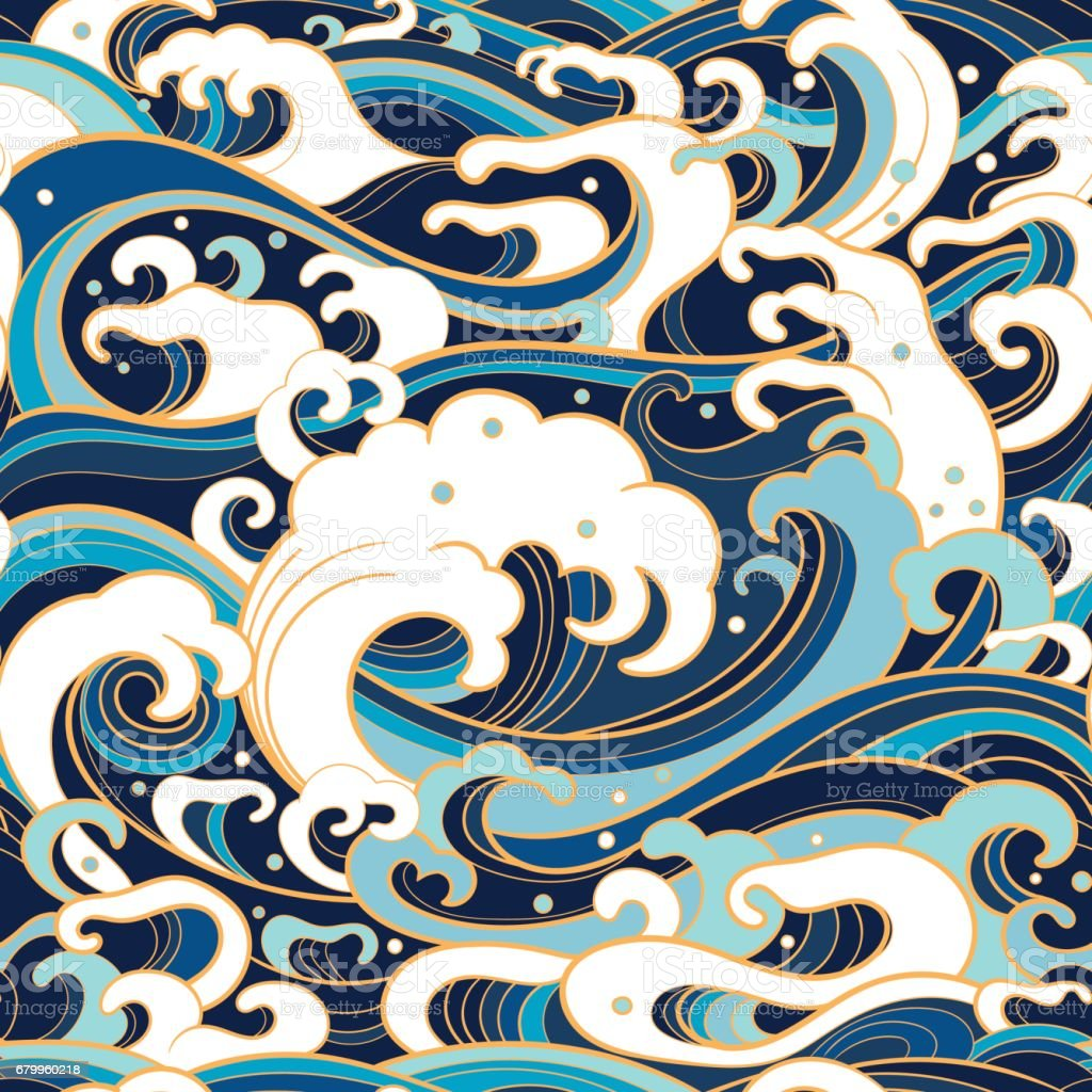 marine seamless pattern with water waves - illustrazione arte vettoriale