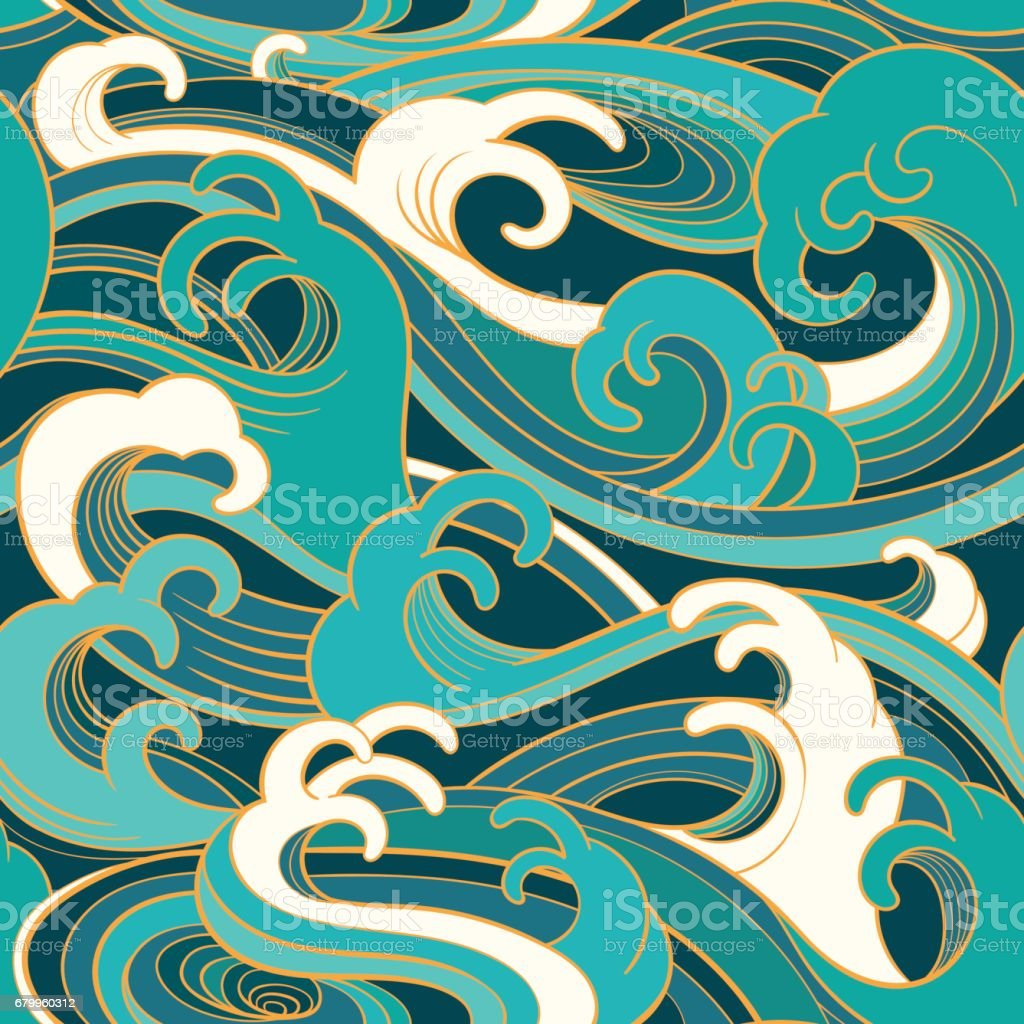 marine seamless pattern with water waves vector art illustration