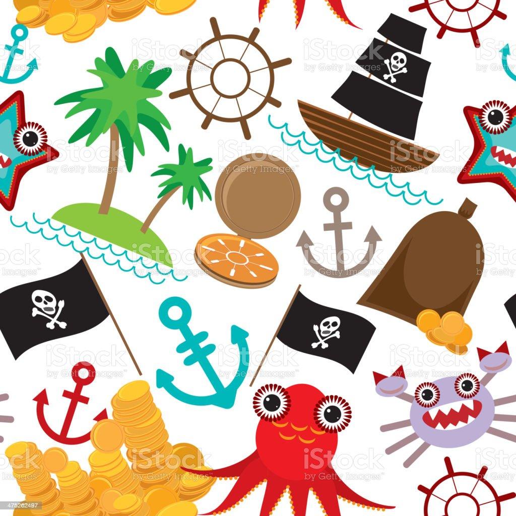 Ilustración de Marine Patrón Sin Costuras Pirata Sobre Fondo Blanco ...