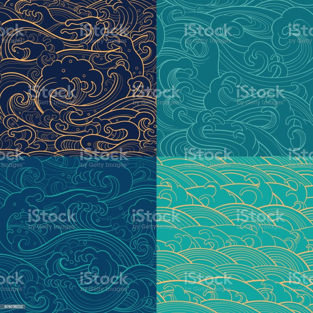 marine set: color outline seamless patterns - illustrazione arte vettoriale
