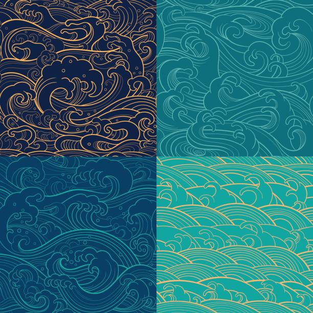 marine set: color outline seamless patterns Traditional oriental seamless contour patterns with ocean waves, foam, splashes. Vector backgrounds japanese culture stock illustrations