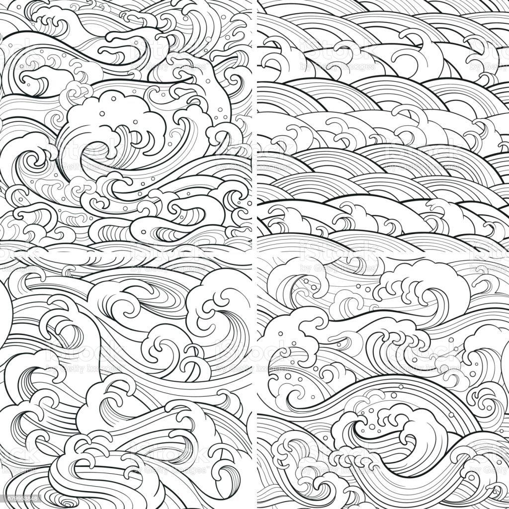 marine set: outline seamless patterns vector art illustration