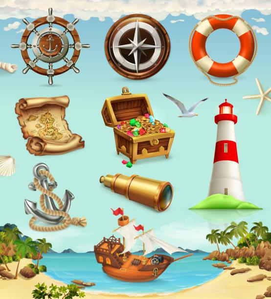 marine-set, sommer urlaub 3d vektor-icons - buchten stock-grafiken, -clipart, -cartoons und -symbole