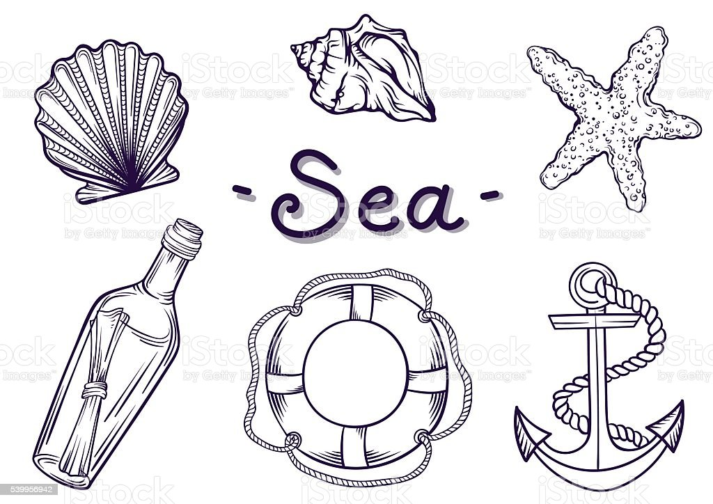 Marine set. vector art illustration