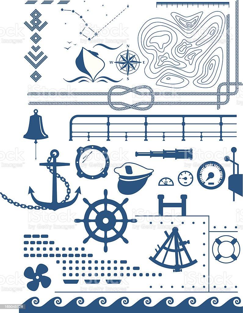 marine shapes vector art illustration