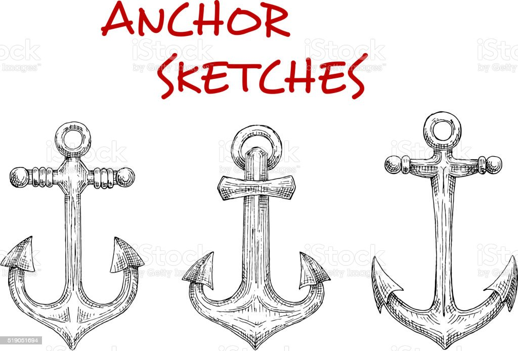 Marine ship anchors isolated sketches vector art illustration