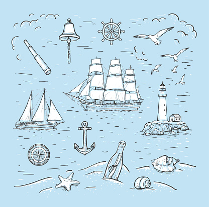 Marine sketch hand drawn vector set with sailboat, lighthouse, seagulls, anchor, yacht, bottle, spyglass, compass, bell, steering wheel, seashells