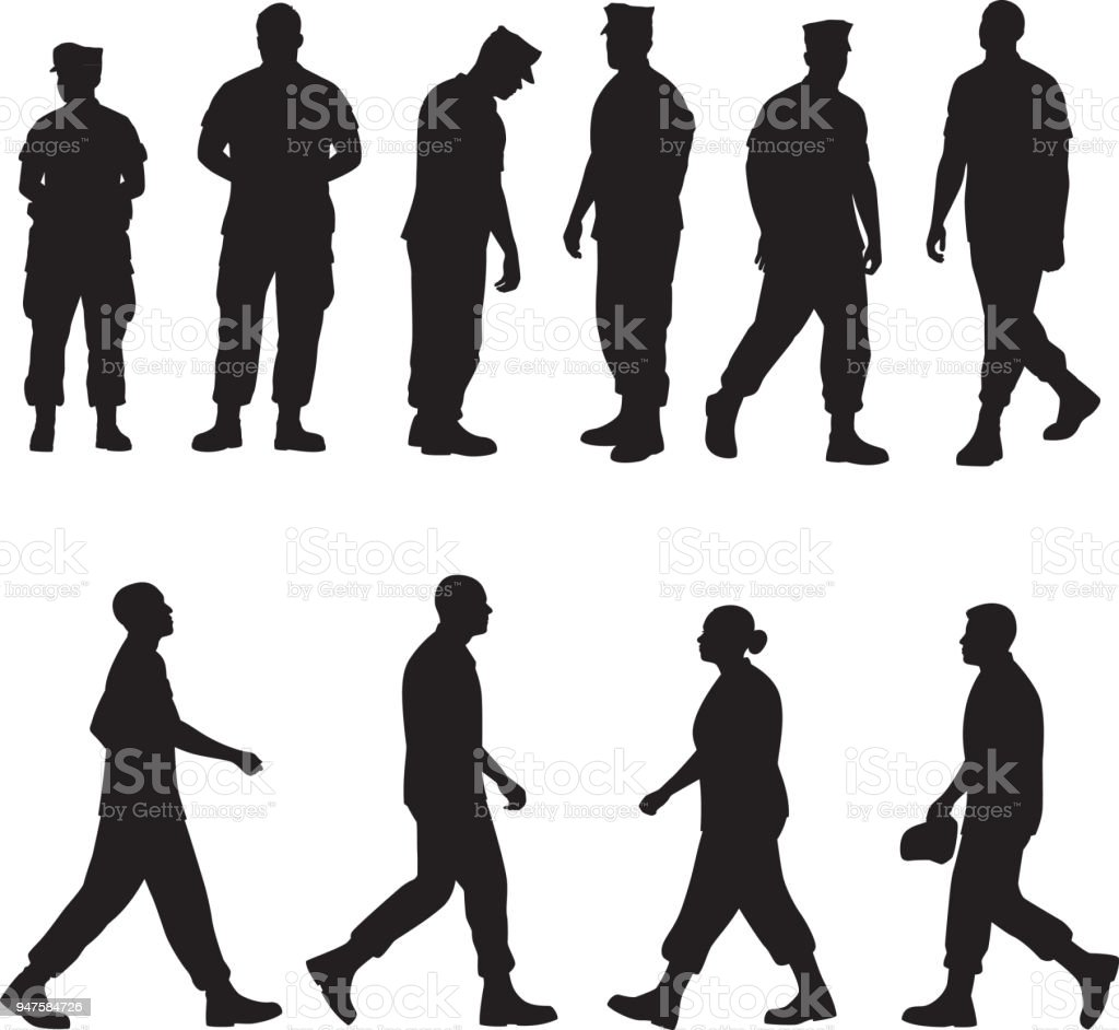 Marine Soldier Silhouettes 2 vector art illustration