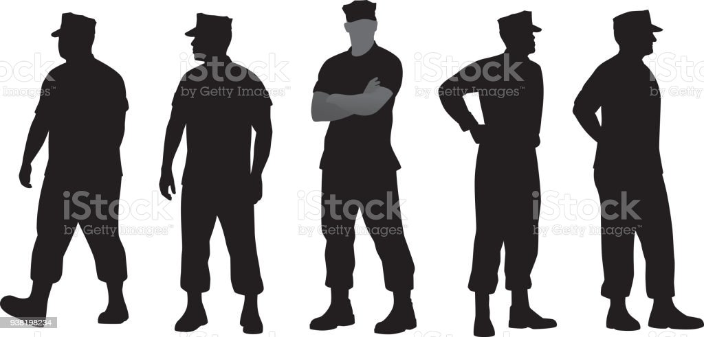 Marine Soldier Silhouettes vector art illustration