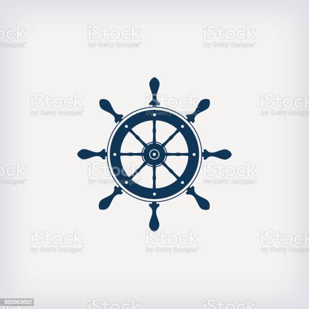 marine steering wheel vector icon set on grey background - vector illustration. EPS 10