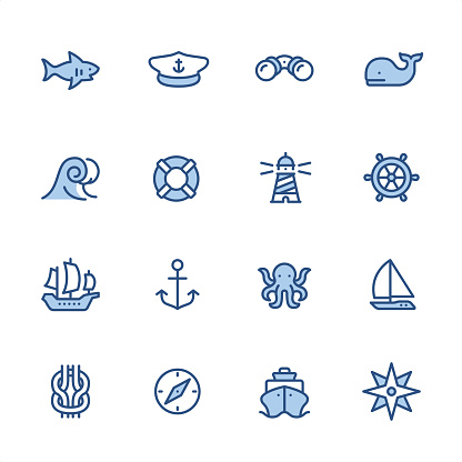 Marine theme - Pixel Perfect navy blue outline icons