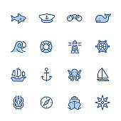 16 indigo and blue Marine theme icon set #44\nPixel perfect icon 48x48 pх, outline stroke 2 px.\n\nirst row of  icons contains:\nShark icon, Boat Captain Hat, Binoculars, Whale;\n\nSecond row contains: \nWave, Buoy, Lighthouse, Rudder;\n\nThird row contains: \nSailing Ship, Anchor-Vessel Part, Octopus, Yacht; \n\nFourth row contains: \nReef Knot, Navigational Compass, Cruise Ship, Compass Rose.\n\nComplete Indigico collection - https://www.istockphoto.com/collaboration/boards/t5bVQfKvf0a-h6WHcFLuIg