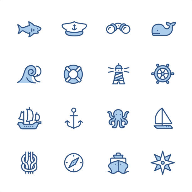 Marine theme - Pixel Perfect navy blue outline icons 16 indigo and blue Marine theme icon set #44 Pixel perfect icon 48x48 pх, outline stroke 2 px.  irst row of  icons contains: Shark icon, Boat Captain Hat, Binoculars, Whale;  Second row contains:  Wave, Buoy, Lighthouse, Rudder;  Third row contains:  Sailing Ship, Anchor-Vessel Part, Octopus, Yacht;   Fourth row contains:  Reef Knot, Navigational Compass, Cruise Ship, Compass Rose.  Complete Indigico collection - https://www.istockphoto.com/collaboration/boards/t5bVQfKvf0a-h6WHcFLuIg mollusk stock illustrations