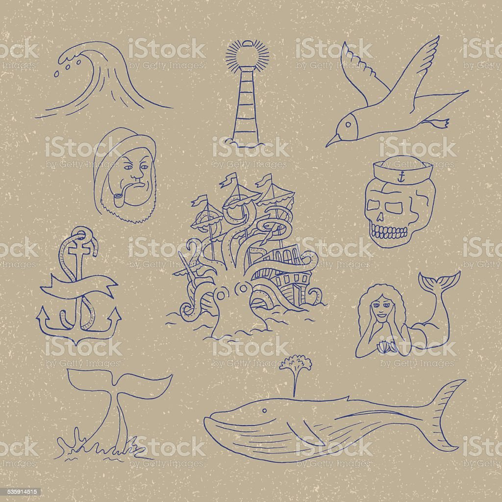 marine themes tattoo sailor ocean octopus stock vector art more