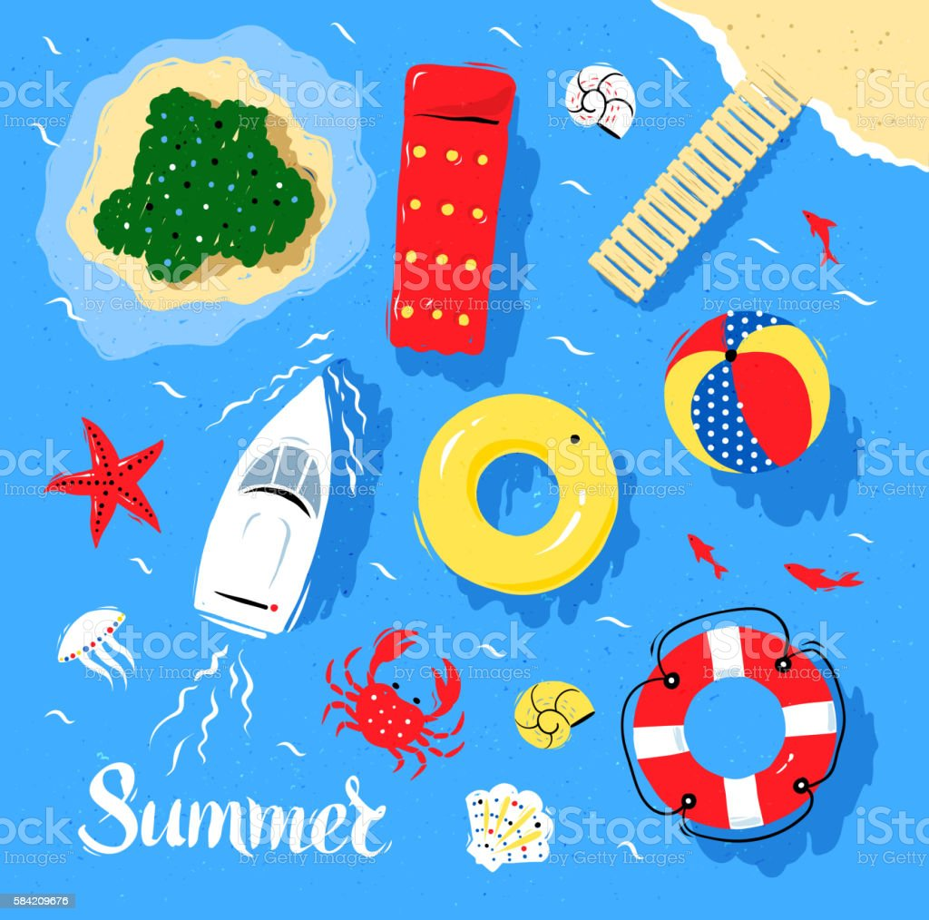 Marine top view vector set vector art illustration