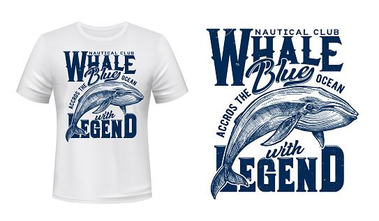 Marine t-shirt print, nautical club ocean whale
