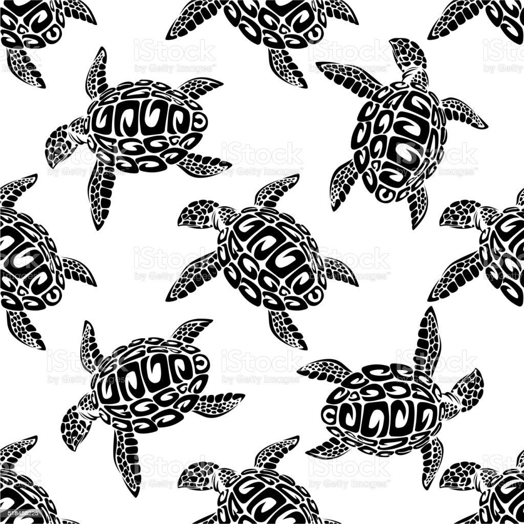 Ilustración de Tortugas Marinas Patrón Sin Costuras Fondo y más ...