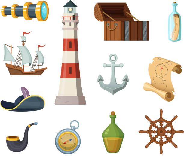 illustrations, cliparts, dessins animés et icônes de objets de marine vectoriels. poitrine, boussole, carte au trésor et autres objets de style cartoon - cartes au trésor