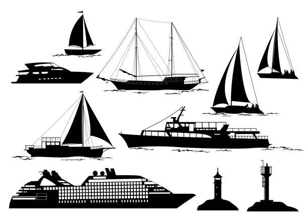 illustrations, cliparts, dessins animés et icônes de objets et véhicules marins - voilier à moteur