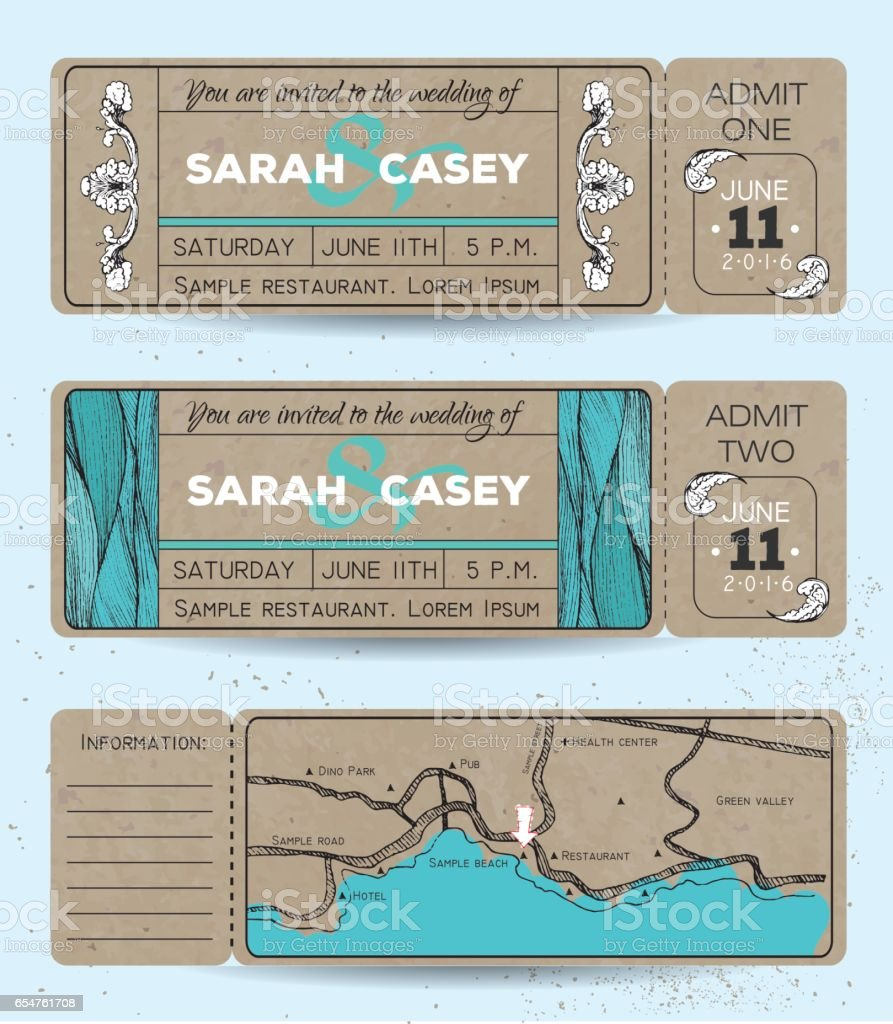 Marine wedding invitation set
