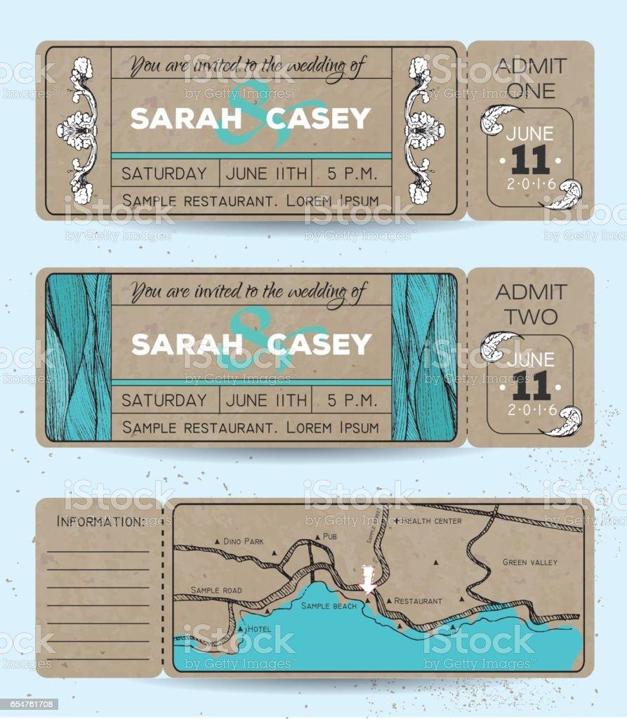 Marine wedding invitation set vector art illustration