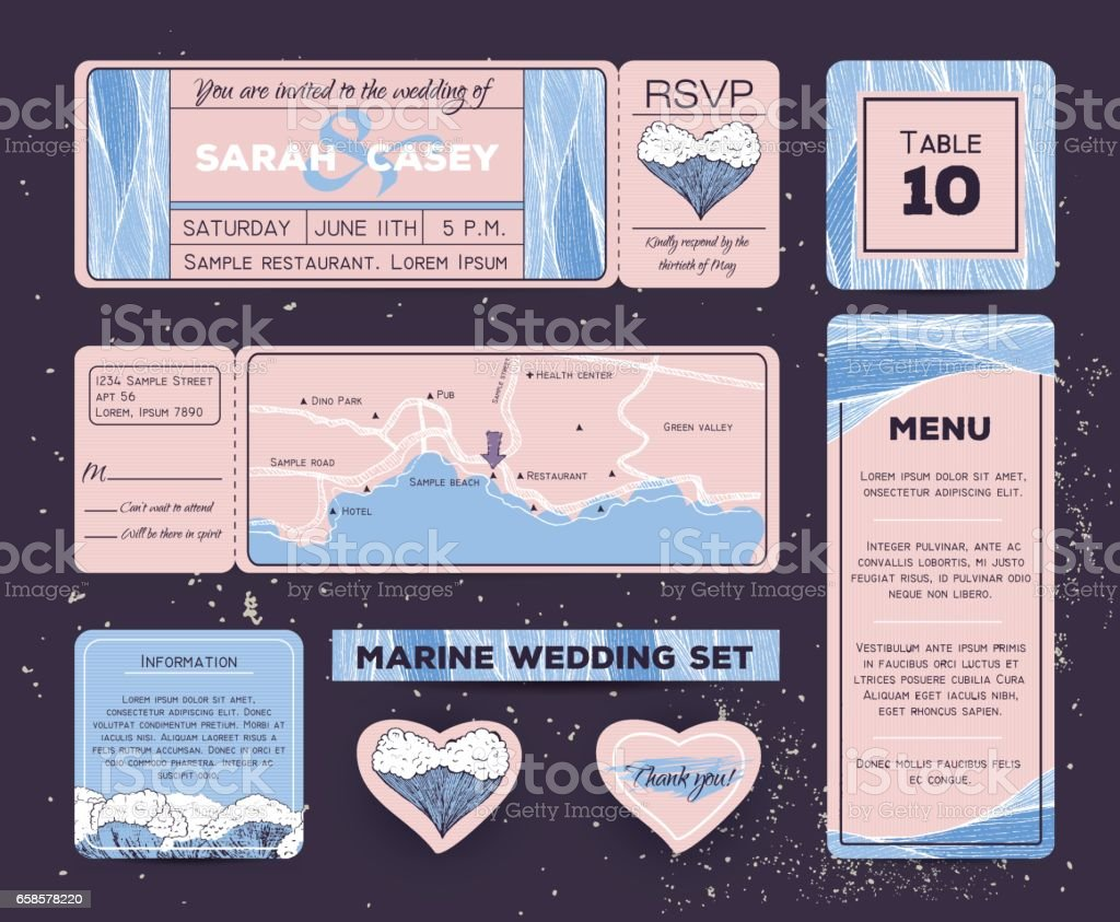 Marine wedding invitation set with rsvp, table and menu cards. Ticket to a sea party with road map