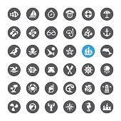 Marines and Beaches related vector icons
