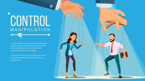 marionette concept vector. manipulation big managing hand. employee. worker on ropes. unfairly using. cartoon illustration - kukiełka stock illustrations
