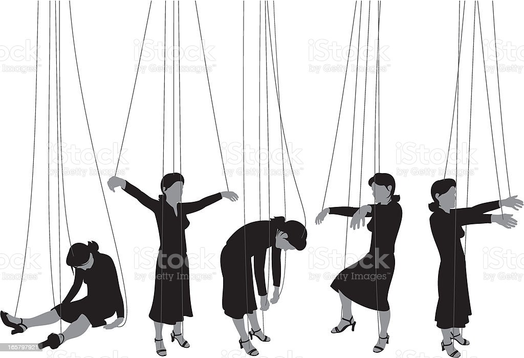 Marionette Woman vector art illustration