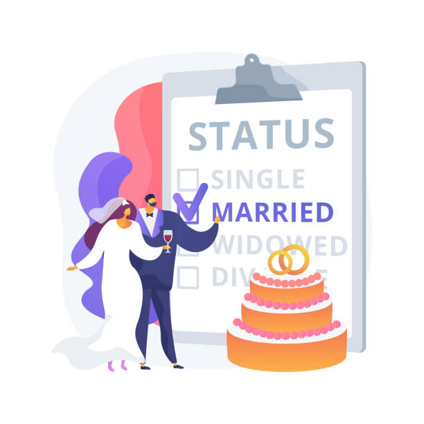 Marital status abstract concept vector illustration. Marital status abstract concept vector illustration. Civil status, persons relationship, single married, checkbox, marital state, wedding rings, married couple, divorced widowed abstract metaphor. married status stock illustrations