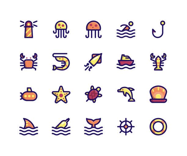 maritime gefüllte liniensymbole - haifischköder stock-grafiken, -clipart, -cartoons und -symbole