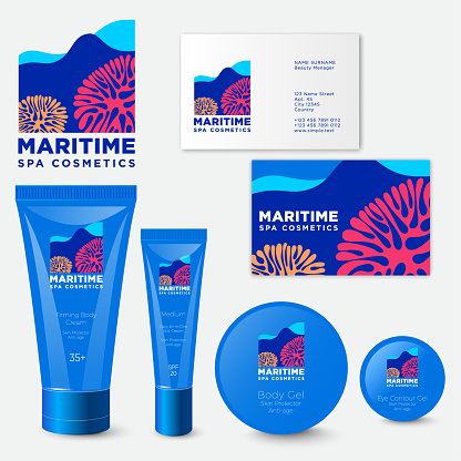 Maritime icon. Spa cosmetic packaging.