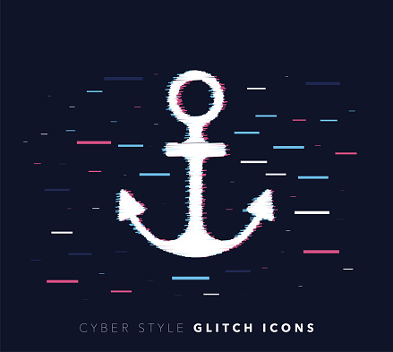 Maritime Industry Glitch Effect Vector Icon Illustration