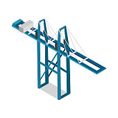 Maritime Inland Container Terminal Isolated Vector