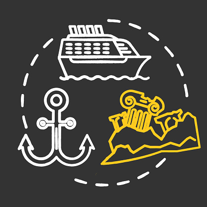Maritime museum chalk concept icon. Boats and ships exhibition. Ocean anchor, sea vessel display. Lost civilization. Nautical exposition idea. Vector isolated chalkboard illustration