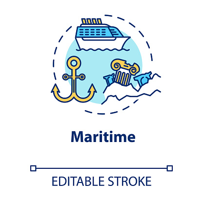 Maritime museum concept icon. Boats and ships exhibition. Ocean anchor, sea vessel. Nautical exposition idea thin line illustration. Vector isolated outline drawing. Editable stroke